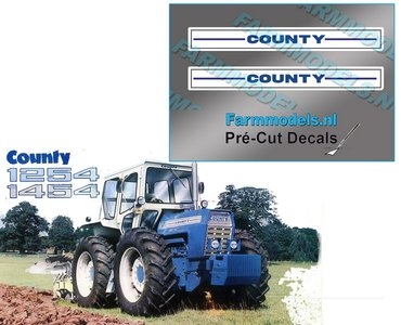 COUNTY zijkant motorkap stickerset 2x Pré-Cut Decal 1:32 Farmmodels.nl