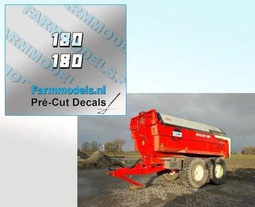 2x 180 Witte cijfers met zwarte schaduw hoogte 4.3 mm stickers/ Pré-Cut Decals 1:32 Farmmodels.nl