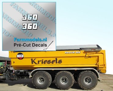 2x 360 Witte cijfers met zwarte schaduw hoogte 4.3 mm stickers/ Pré-Cut Decals 1:32 Farmmodels.nl