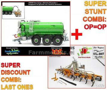 COMBISET Rebuilt Joskin Vacu Cargo 24000 GREEN + 4-PUNT HEF + MICHELIN XS + Veenhuis bemester verkruimelrollen 1:32 RS602144-R-COMBI