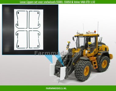 4 extra lippen t.b.v. aanbouw hulpstuk / bak, geschikt voor de snelwissels 55001 -55050 & Volvo VAB-STD 1:32