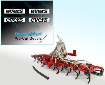 4x EVERS logo ZWART op WIT 3 mm hoog Pré-Cut Decals 1:32 Farmmodels.nl