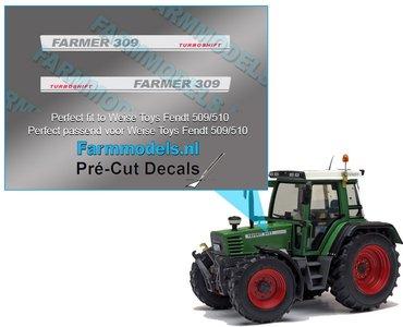 FARMER 309 TURBOMATIK type stickers Pré-Cut Decals 1:32 Farmmodels.nl