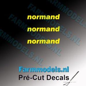 3x normand logo GEEL op transparant 2.5 mm hoog Pré-Cut Decals 1:32 Farmmodels.nl