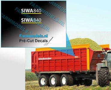 SIWA 840 WIT met gele streep op transparante folie 5.6 mm hoog Pré-Cut Decals 1:32 Farmmodels.nl