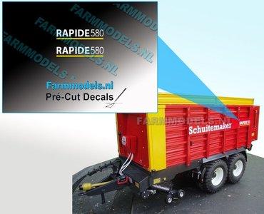 RAPIDE 580 WIT met gele streep op transparante folie 5.6 mm hoog Pré-Cut Decals 1:32 Farmmodels.nl