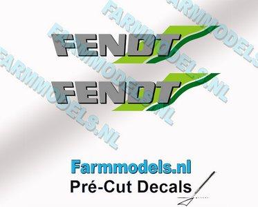 FENDT logo met groene strepen stickers op Transparant 2x 8mm hoog Pré-Cut Decals 1:32 Farmmodels.nl