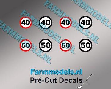 40 & 50 KM Borden stickers Ø 6.6mm - Ø 7.3mm Pré-Cut Decals 1:32 Farmmodels.nl super