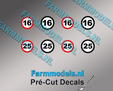 16 & 25 KM Borden stickers Ø 6.6mm - Ø 7.3mm Pré-Cut Decals 1:32 Farmmodels.nl