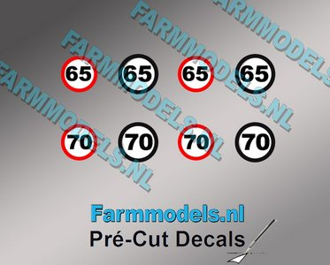 65 & 70 KM Borden stickers Ø 6.6mm - Ø 7.3mm Pré-Cut Decals 1:32 Farmmodels.nl super