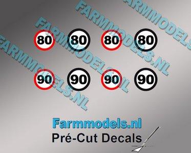80 & 90 KM Borden stickers Ø 6.6mm - Ø 7.3mm Pré-Cut Decals 1:32 Farmmodels.nl super