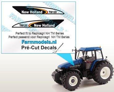 New Holland TM120 type stickers voor o.a. NH TM150 Replicagri motorkap Pré-Cut Decals 1:32 Farmmodels.nl