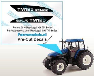 New Holland TM125 type stickers voor o.a. NH TM150 Replicagri motorkap Pré-Cut Decals 1:32 Farmmodels.nl