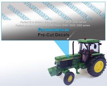John Deere 3650 type stickers/ Pré-Cut Decals voor Britains JD 3050 motorkap 1:32 Farmmodels.nl