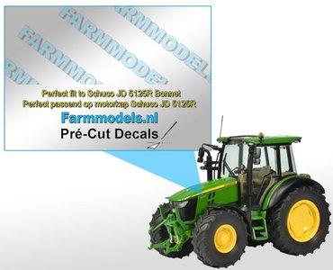 John Deere 5090R type stickers/ Pré-Cut Decals voor Schuco JD 5125R motorkap 1:32 Farmmodels.nl