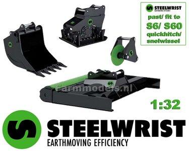 STEELWRIST Hulpstukken en Dieplepelbak set met S60/ S60 Koppeling 1:32  AT3200109   EXPECTED