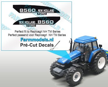 New Holland/ FORD 8560 type stickers voor o.a. NH 8360 Replicagri motorkap Pré-Cut Decals 1:32 Farmmodels.nl