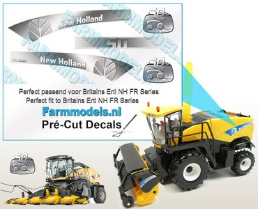 New Holland FR 9060 50th year edition type stickers voor NH FR 9090 Britains Ertl motorkap Pré-Cut Decals 1:32 Farmmodels.nl