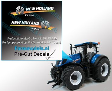 New Holland T7.290 type stickers voor NH T7.315 MarGe models motorkap Pré-Cut Decals 1:32 Farmmodels.nl