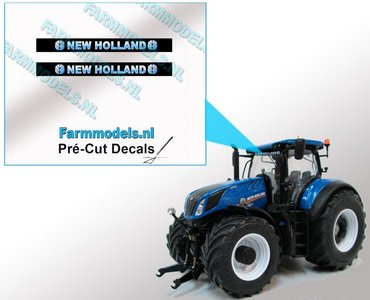 2x NEW HOLLAND Blokletter voorruit stickers BLAUW/ WIT op ZWARTE achtergrond 40 mm breed Pré-Cut Decals 1:32 Farmmodels.nl