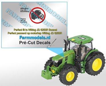 John Deere 6195R type stickers, geschikt voor de John Deere 6250R Wiking/ Pré-Cut Decals 1:32 Farmmodels.nl