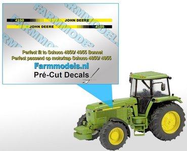 John Deere 4250 type stickers/ Pré-Cut Decals voor Schuco JD 4850/ 4955 motorkap 1:32 Farmmodels.nl