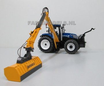 929. New Holland T7.210 Blue Power met Vandaele Maaiarm met klepelmaaier.