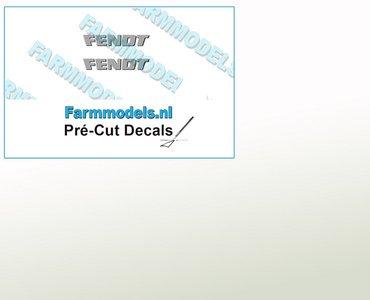 FENDT logo GRIJS met donkere schaduw stickers op Transparant 5mm x 29.2mm  Pré-Cut Decals 1:32 Farmmodels.nl