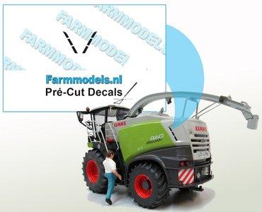 Koelroosterstickerset geschikt voor de Claas Jaguar 860/ 870 Wiking op transparante folie Pré-Cut Decals 1:32 Farmmodels.nl