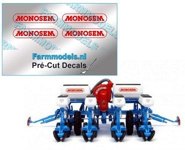 MONOSEM stickers ROOD 15 mm breed op transparante folie  Pré-Cut Decals 1:32 Farmmodels.nl