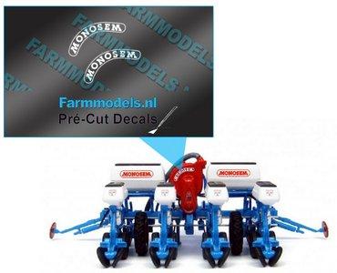 MONOSEM stickers WIT 6mm x 9.5mm half rond op transparante folie  Pré-Cut Decals 1:32 Farmmodels.nl