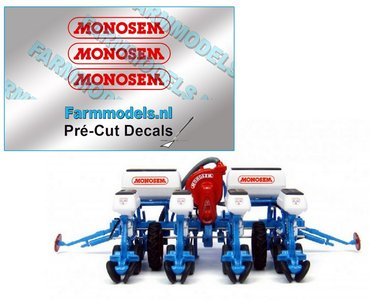MONOSEM stickers ROOD 18 mm breed op transparante folie  Pré-Cut Decals 1:32 Farmmodels.nl