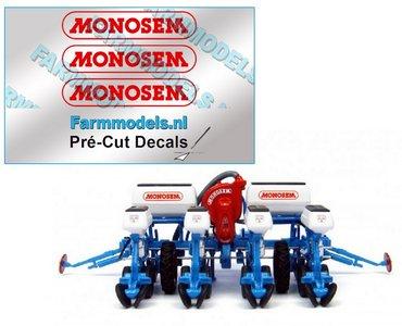 MONOSEM stickers ROOD 22 mm breed op transparante folie  Pré-Cut Decals 1:32 Farmmodels.nl