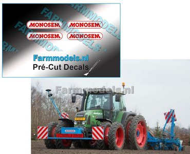 MONOSEM stickers ROOD/ WIT 15 mm breed Pré-Cut Decals 1:32 Farmmodels.nl