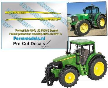 John Deere 6520 type stickers geschikt voor de SIKU John Deere 6920S  Pré-Cut Decals 1:32 Farmmodels.nl