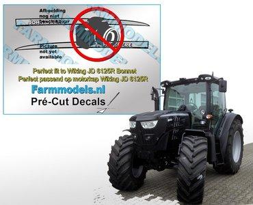 BLACK versie John Deere 6140R V1 type stickers, geschikt voor de John Deere 6125R Wiking/ Pré-Cut Decals 1:32 Farmmodels.nl