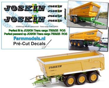 7x JOSKIN LOGO nieuw met GROEN/ GELE STREPEN voor Joskin Trans cargo 7500/25, perfect passend over het bestaande JOSKIN logo's Pré-Cut Decals 1:32 Farmmodels.nl