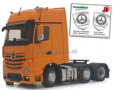 Mercedes-Benz Actros Gigaspace 6x2 Yellow met Free Gift Mercedes (Silver Shield) Decals 1:32 MM1912-05