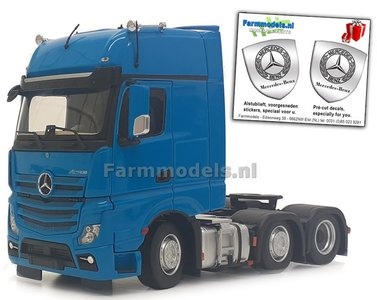 Mercedes-Benz Actros Gigaspace 6x2 Blue met Free Gift Mercedes (Silver Shield) Decals 1:32 MM1912-06