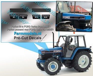 2x KOELROOSTERS - 2x SL powerstar - 2x SLE powerstar set geschikt voor FORD IMBER model Pré-Cut Decals 1:32 Farmmodels.nl