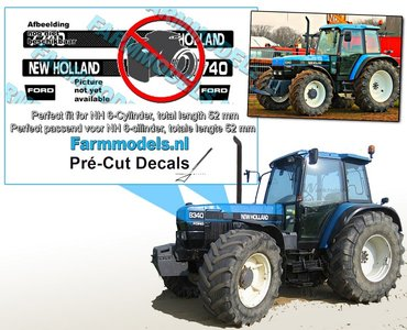 NEW HOLLAND 8340 FORD type logo stickers voor 6 Cilinder FORD model, lengte 52mm Pré-Cut Decals 1:32 Farmmodels.nl