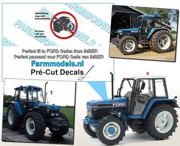 NEW HOLLAND 8340 FORD type logo stickers voor IMBER FORD model Pré-Cut Decals 1:32 Farmmodels.nl