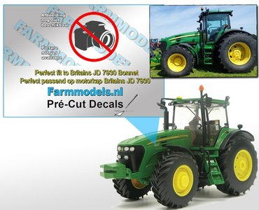 John Deere 7830 type stickers/ Pré-Cut Decals voor Britains motorkap Farmmodels.nl 1:32