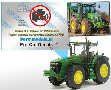 John Deere 7730 type stickers/ Pré-Cut Decals voor Britains motorkap Farmmodels.nl 1:32