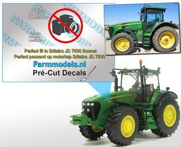 John Deere 7630 type stickers/ Pré-Cut Decals voor Britains motorkap Farmmodels.nl 1:32