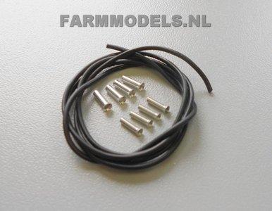 """20109 Hydro. leiding Ø 1 mm + 4x """"man"""" kopp. Ø 1.35 mm  + 4x """"vrouw"""" kopp. Ø 1.78 mm"""