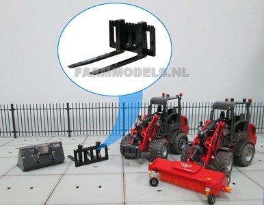 50351/Afg** Palletvork setje handgebouwd t.b.v. snelwissel set nr. 50300-50325 Mini shovel (Weidemann Siku) 1:32