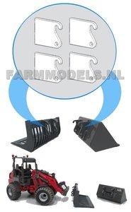 50353 4x losse snelwissel lippen t.b.v. snelwissel set nr. 50300-50325 Mini shovel (Weidemann Siku), 1:32