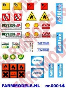 GEV-00014 AdBlue, Olie & gevaarlijke stoffen stickerset