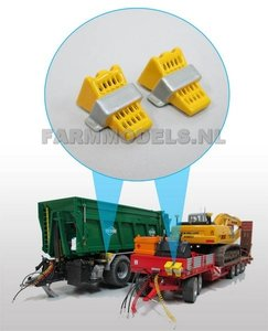 23360 2x Blokkeerwig Deluxe / wielkeg (set van 2 stuks) Geel/aluminium kleur geleverd 1:32, OP=OP (E + O)